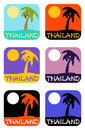 Vector icons set palm tree emblems
