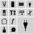 Vector icons set refit/ Vector icon power, plug, Royalty Free Stock Photo