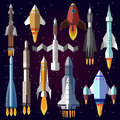 Vector icons set of space rockets.