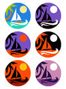 Vector icons set of tropical marine landscape