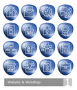 Vector icons set for website and web shop; blue 3D buttons Royalty Free Stock Photo