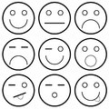 Vector icons of smiley faces on a white background illustration Stock Images