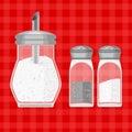 Vector illusrtation of sugar, salt and pepper