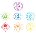 Vector illustrated chakras symbols sketch Stock Images
