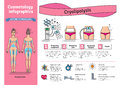 Vector Illustrated set with cosmetology Cryolipolysis treatment