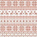 Vector illustrated traditional red nordic pattern with deers, hearts, snowflakes and Christmas trees