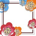 Vector illustration of abstract background out of the frame and paper flowers