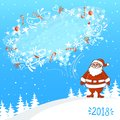 Vector Illustration of an Abstract Christmas Greeting Card with Santa Claus and blizzard bubble for text with happy dogs on winter Royalty Free Stock Photo
