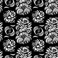 Vector illustration of abstract black and white flowers seamless pattern.