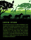 Vector illustration of african savannah safari landscape with wildlife animals silhouettes design template Royalty Free Stock Photo