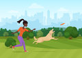 Vector illustration of African woman throwing frisbee and playing with dog in park.