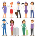 Vector Illustration airline plane personnel staff pilots and stewardess air hostess flight attendants people command