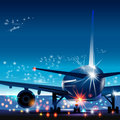 Vector illustration of airport with plane. Royalty Free Stock Photo