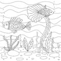 Vector illustration with algae and fish, sea floor. Cute square page coloring book for small children. . Royalty Free Stock Photo