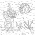 Vector illustration with algae and fish, sea floor. Cute square page coloring book for small children. Royalty Free Stock Photo