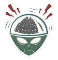Vector illustration of alien invader mega brain Stock Images