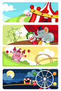 A vector illustration of amusement park banner sets Stock Photography