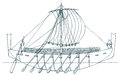 Vector illustration. Ancient Phoenician ship Royalty Free Stock Photo