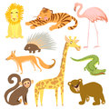 Vector illustration of animal. Zoo cute animals. Royalty Free Stock Photo