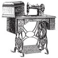 Vector illustration of antique sewing machine