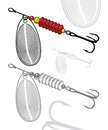 Vector illustration of artificial fishing lure isolated grouped transparent background easy to change the colors Royalty Free Stock Photos