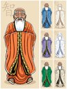 Vector illustration asian wise man color versions no transparency gradients used Royalty Free Stock Photos
