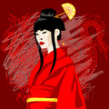 Vector illustration of asian woman Royalty Free Stock Images