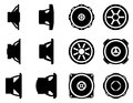 Audio car vector icon set. Speaker and speaker driver Royalty Free Stock Photo