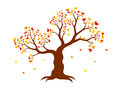Vector illustration of autumn tree with yellow, red, orange leaves Royalty Free Stock Photo