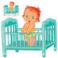 Vector illustration baby is in his cot.