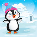 Vector Illustration Of Baby Penguin Standing Next To A Igloo