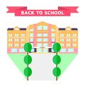 Vector illustration. Back to school. flat orange pink building
