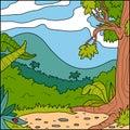 Vector illustration, background (forest glade)