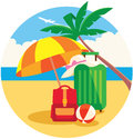 Vector illustration of baggage on the summer beach under a palm Royalty Free Stock Photo