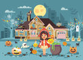 Vector illustration banner brochure cartoon character child Trick-or-Treat, girl costume fancy dresses Little Red Riding