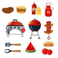 Vector illustration barbeque icon sets Royalty Free Stock Photos