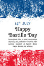 Vector illustration Bastille Day, French flag in trendy grunge style. 14 July design template for poster, banner, flayer