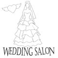 Vector illustration of a beautiful bride on a white background. Wedding salon Royalty Free Stock Photo