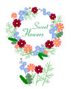 Vector illustration of beautiful colorful flower wreath
