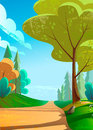 Vector illustration of a beautiful green landscape with road to mountains