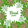 Vector illustration beautiful green leafy with pattern art floral frame