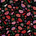 Vector illustration of beautiful seamless texture of poppies and tulips on the black background.