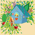 Vector illustration of the birds in birdhouse and garden Royalty Free Stock Image