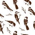 Vector illustration of birds seamles pattern