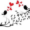 Vector illustration of a birds on tree