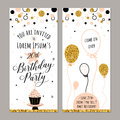 Vector illustration of birthday invitation. Face and back sides. Party background with cupcake, ballon and gold sparkles