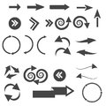 Vector illustration of black arrow icons. Royalty Free Stock Photo
