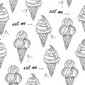 Vector illustration of black and white ice creams pattern