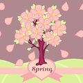 Vector illustration blossoming tree spring Royalty Free Stock Images