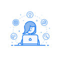 Vector illustration of blue icon in flat line style. Linear cute and happy woman with laptop. Royalty Free Stock Photo